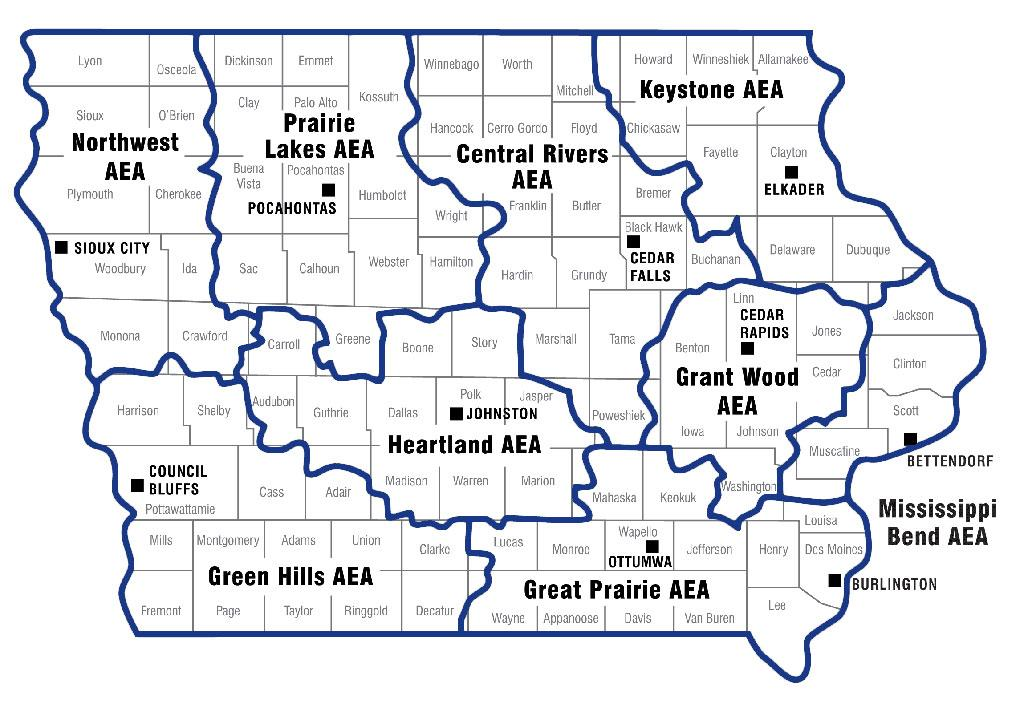 Map of Iowa's counties with an overlay showing the boundaries of the area education agencies.